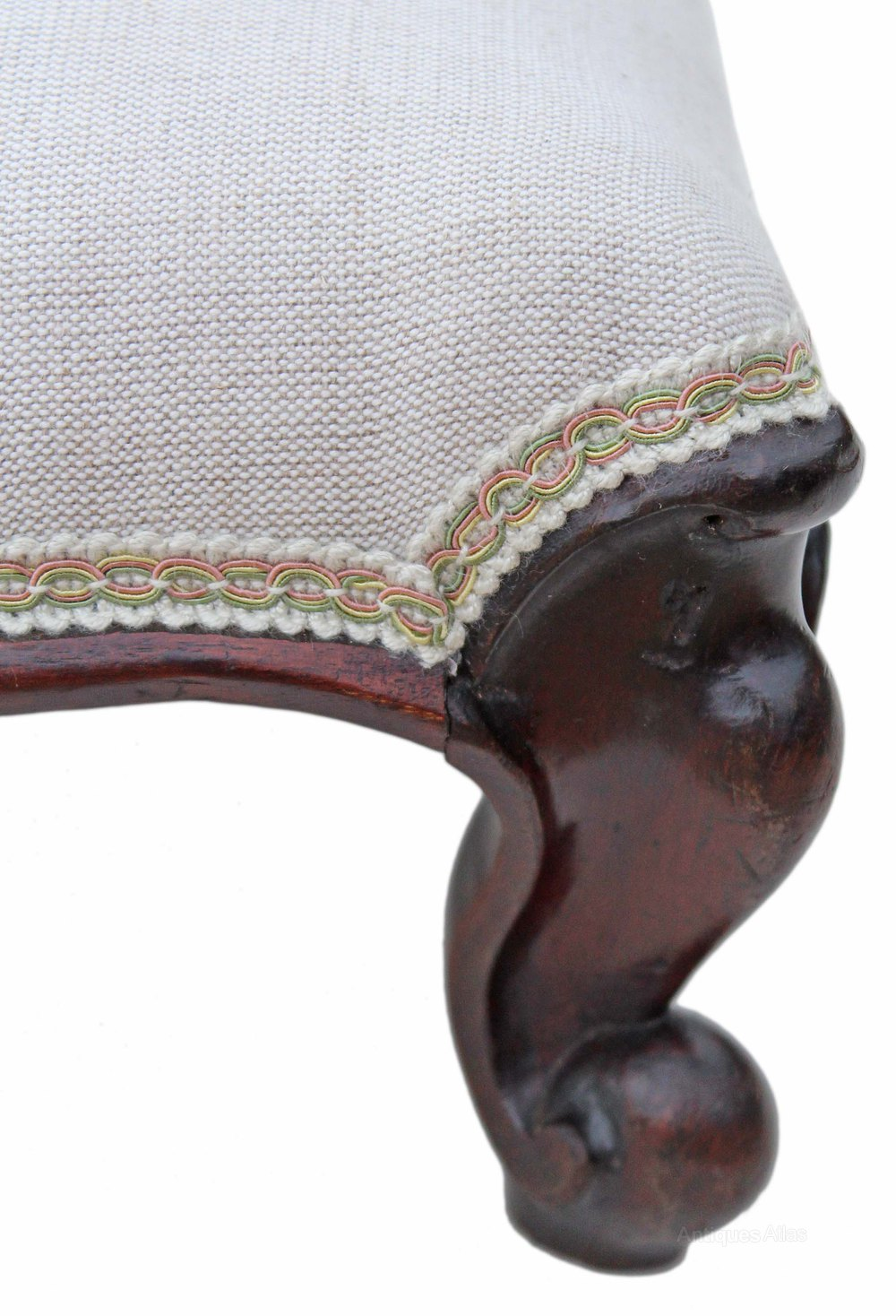 Victorian 19c Mahogany Upholstered Foot Stool Antiques Atlas