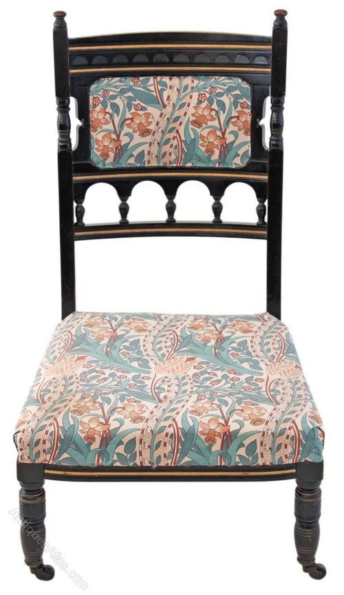 Victorian aesthetic ebonised nursing parlour chair for Parlour chair for sale