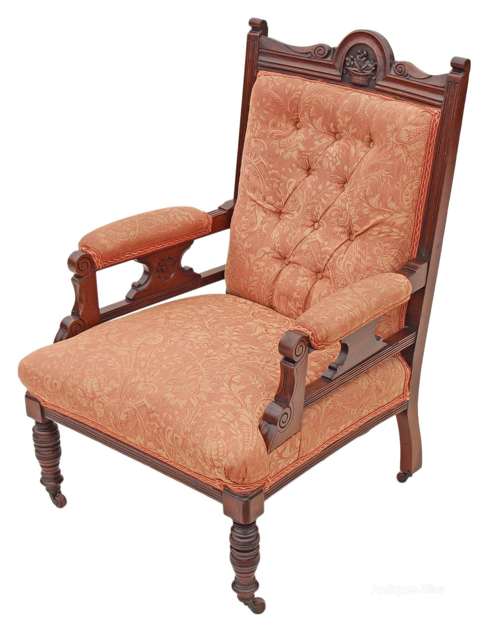Victorian Edwardian Gents Carved Walnut Armchair ...