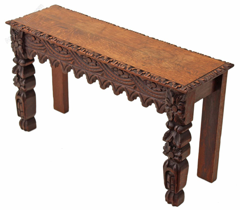Victorian Gothic Carved Oak Window Seat Hall Bench Antiques Atlas