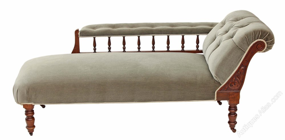 Victorian carved beech walnut chaise longue sofa for Carved chaise lounge