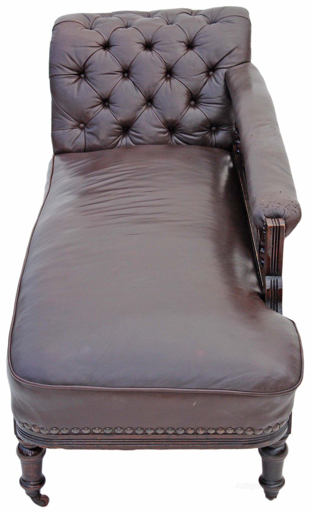 victorian leather walnut sofa chaise longue settee antiques atlas. Black Bedroom Furniture Sets. Home Design Ideas