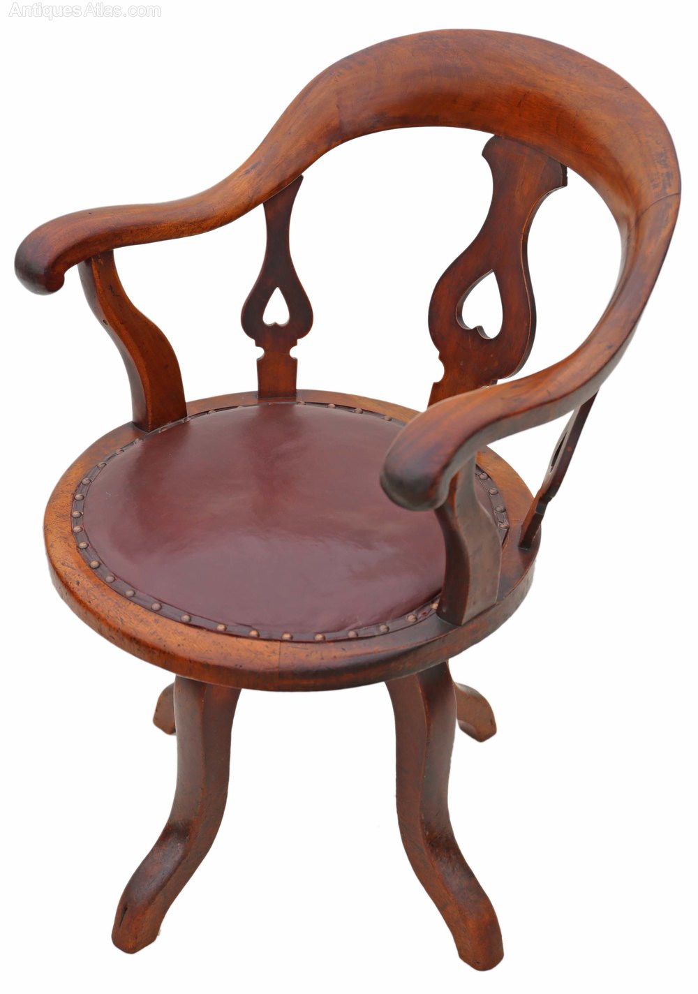 Victorian mahogany leather desk office chair antiques for Antique leather chairs