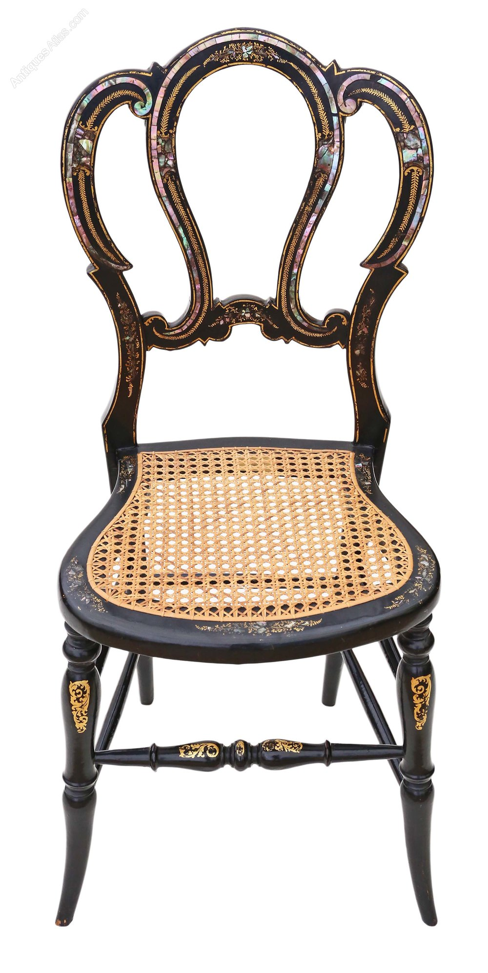 Victorian Mother Of Pearl Cane Bedroom Chair