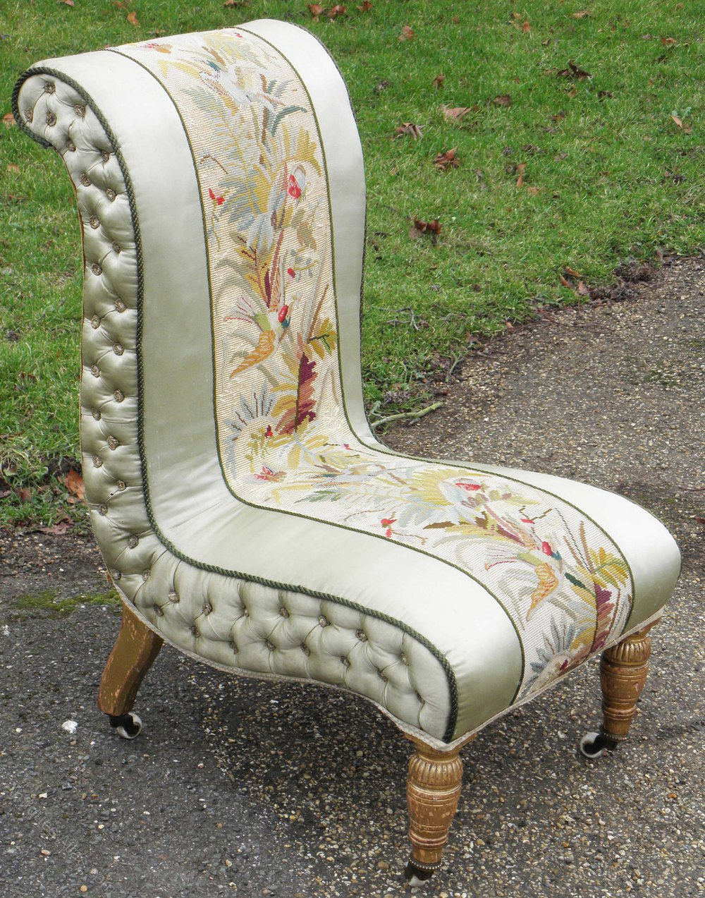 Victorian Needlepoint And Silk Open Bedroom Chair