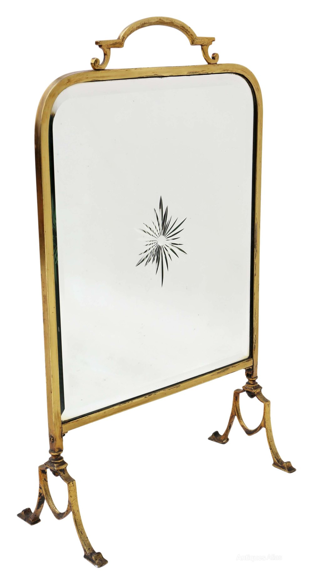 Antiques atlas victorian ormolu brass cut glass fire screen for How to cut glass with fire