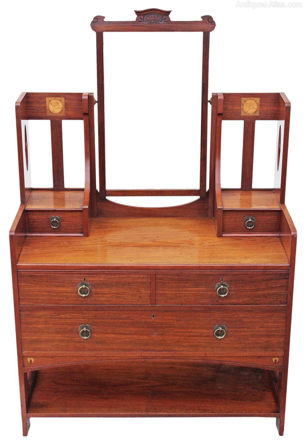 Victorian quality inlaid walnut dressing table antiques for Walnut dressing table