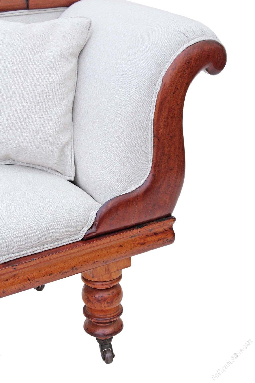 Victorian Scroll Arm Sofa Chaise Longue Walnut Antiques