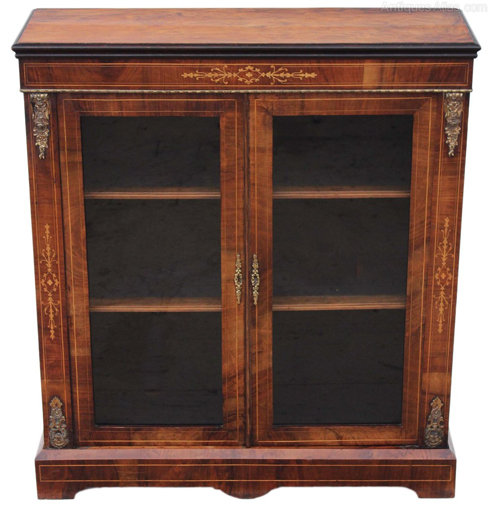 Victorian walnut aesthetic glazed display cabinet for Antique display cabinet