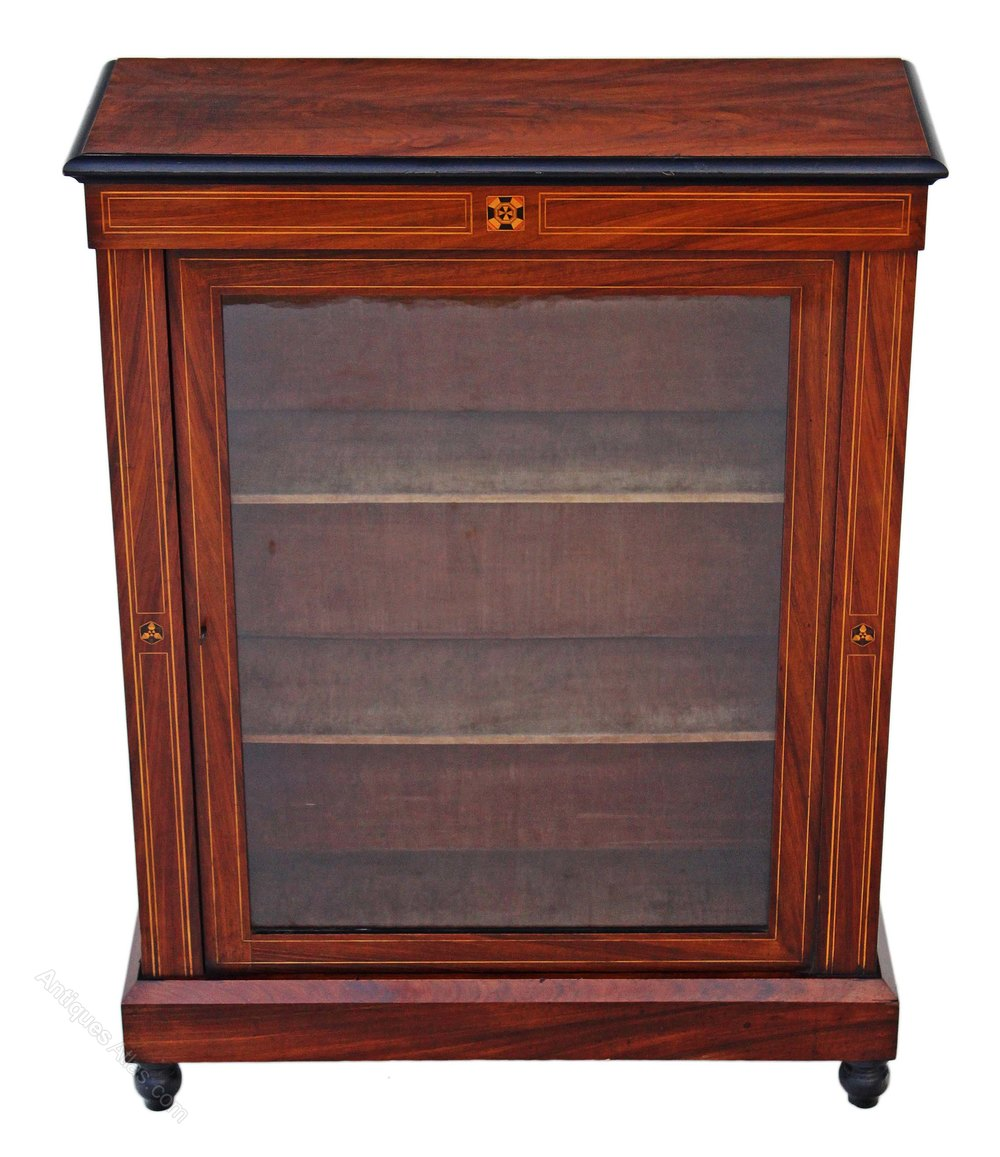 Victorian walnut pier display cabinet bookcase antiques for Antique display cabinet