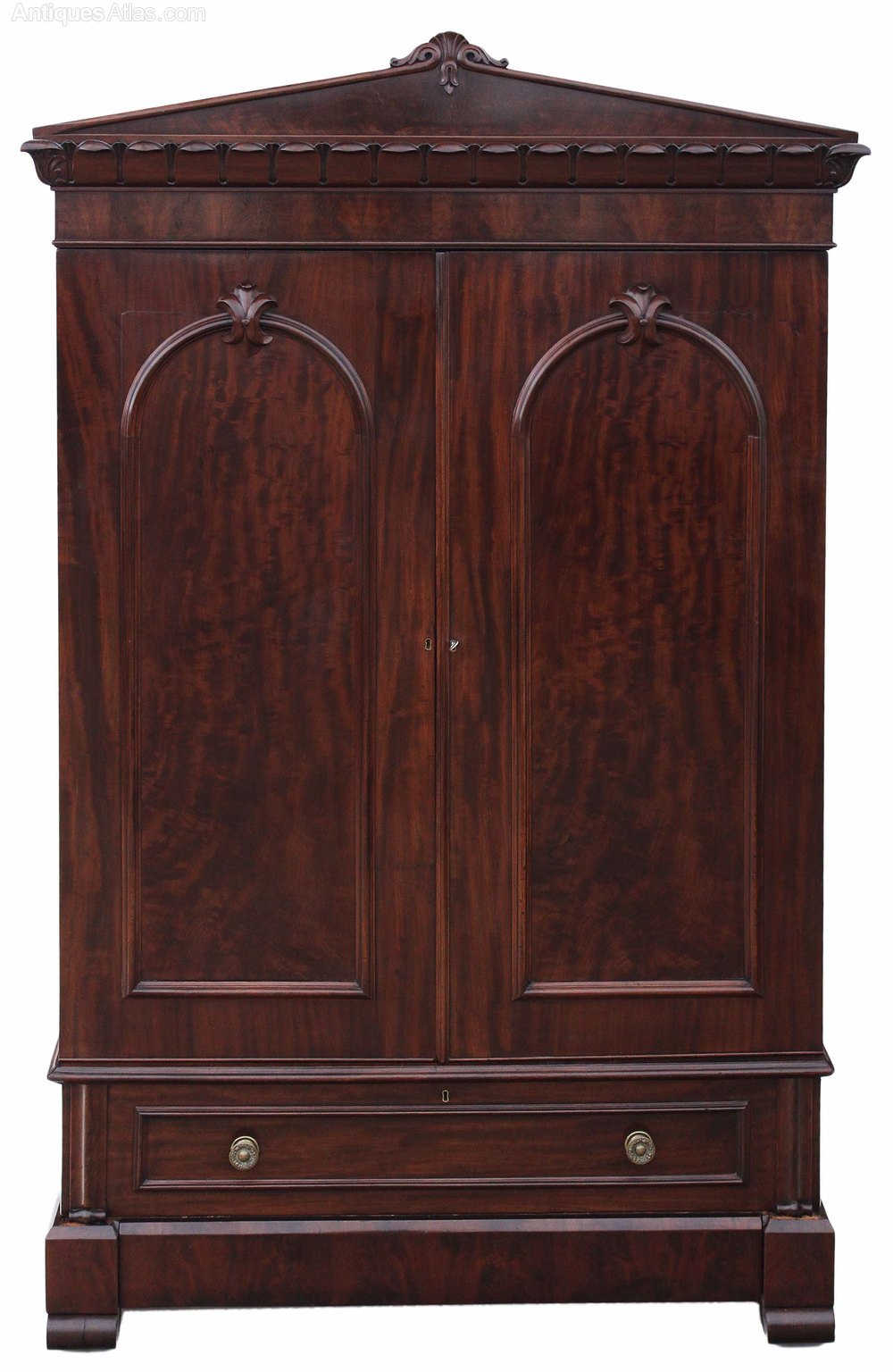 William IV Mahogany Armoire Wardrobe Linen Press ...