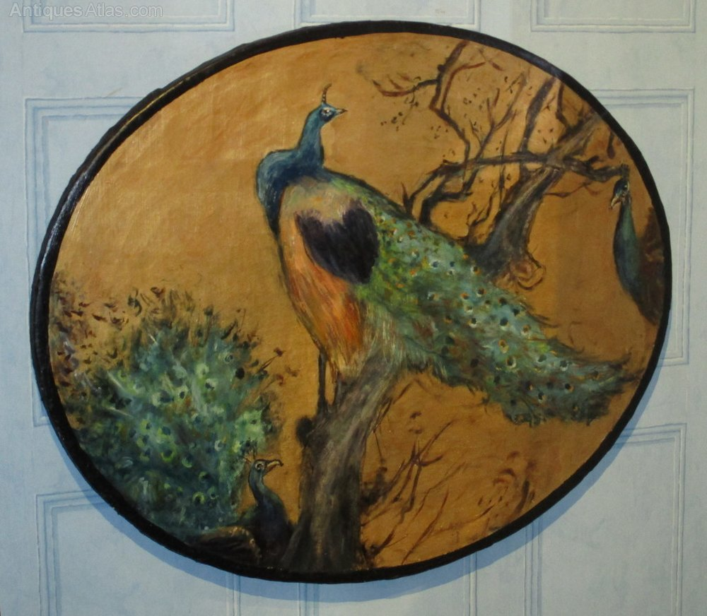Antiques Atlas Aesthetic Movement Oil Of Peacocks