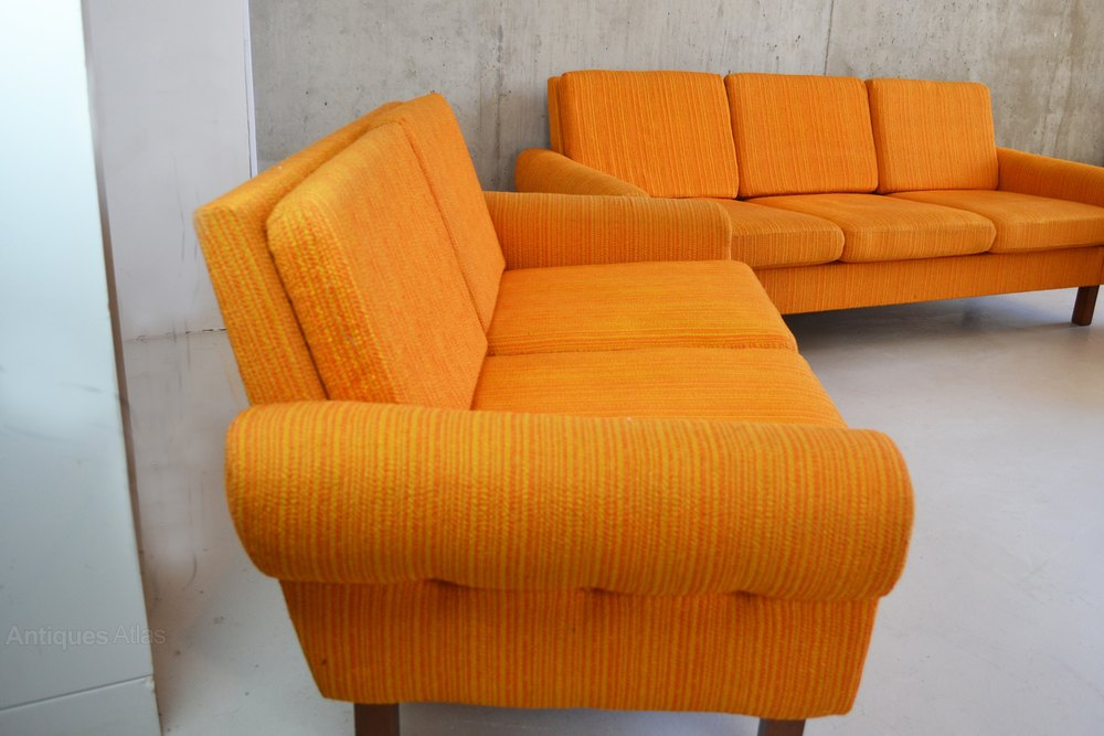 Antiques atlas 1970 s mid century danish bright orange 3 for Furniture 3 piece suites