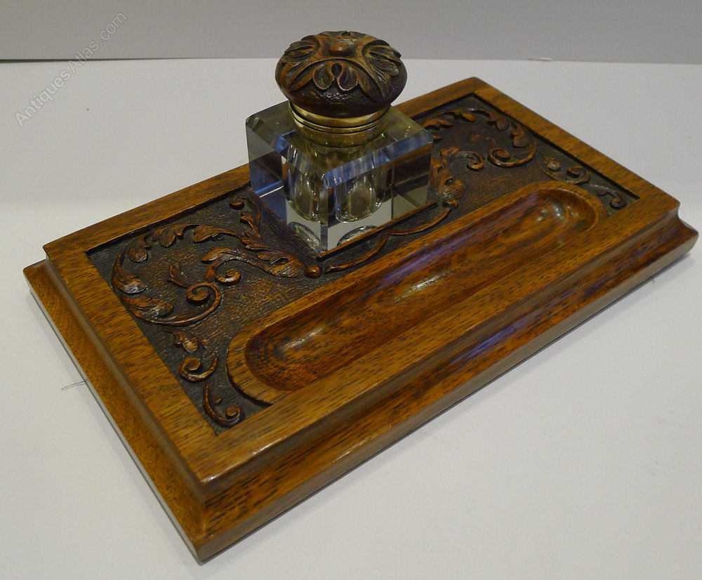 Antiques Atlas - Antique English Carved Oak Inkstand / Inkwell