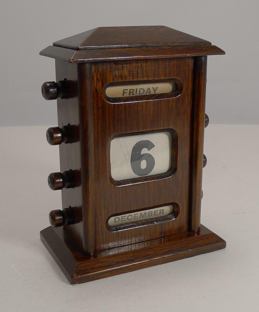 Perpetual Calendar Desk : Antiques atlas antique english oak perpetual desk calendar