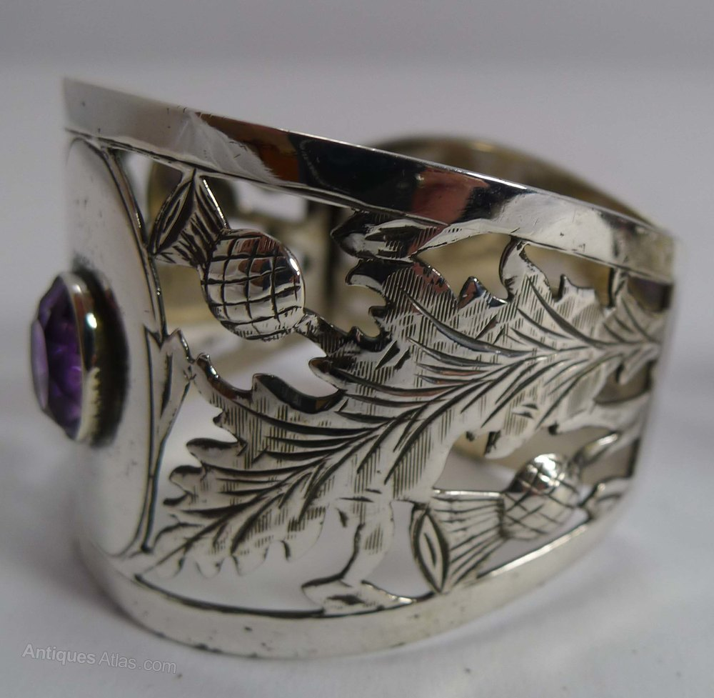 antiques atlas pair silver napkin rings scottish thistles
