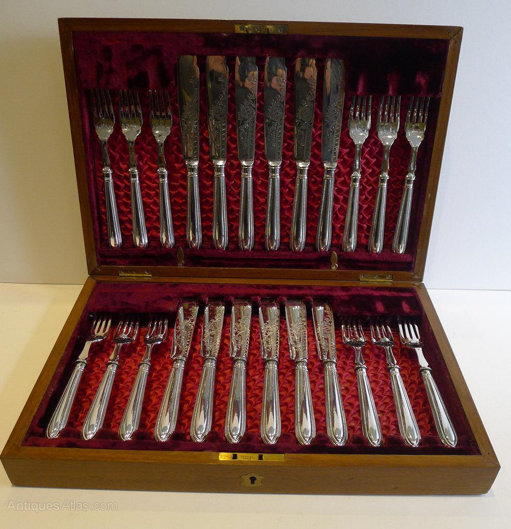 Antiques atlas set twelve antique english fish knives forks - Knives and forks sets ...