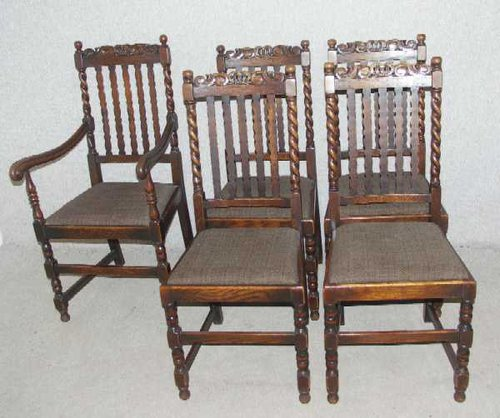 4+1 Carver Barley Twist Oak dining chairs ... - Antiques Atlas - 4+1 Carver Barley Twist Oak Dining Chairs