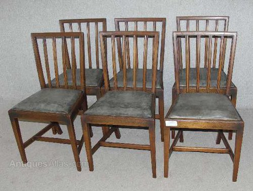 Antiques Atlas 6 Oak Dining Chairs With Blue Grey Leather Seats