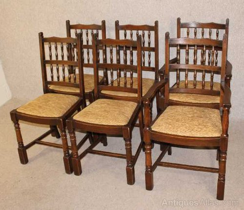 Oak Spindle Dining Chairs ~ Antiques atlas oak spindle back dining chairs