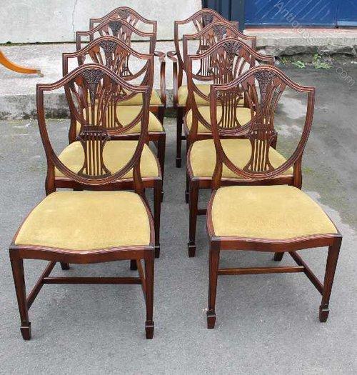 Antiques Atlas 8 Mahogany Wheatsheaf Back Dining Chairs