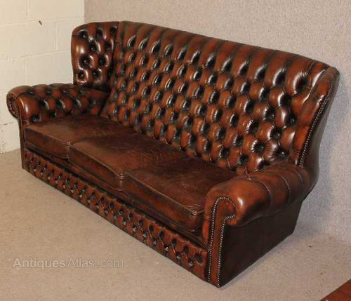 antiques atlas brown chesterfield style high back 3 seater sofa. Black Bedroom Furniture Sets. Home Design Ideas