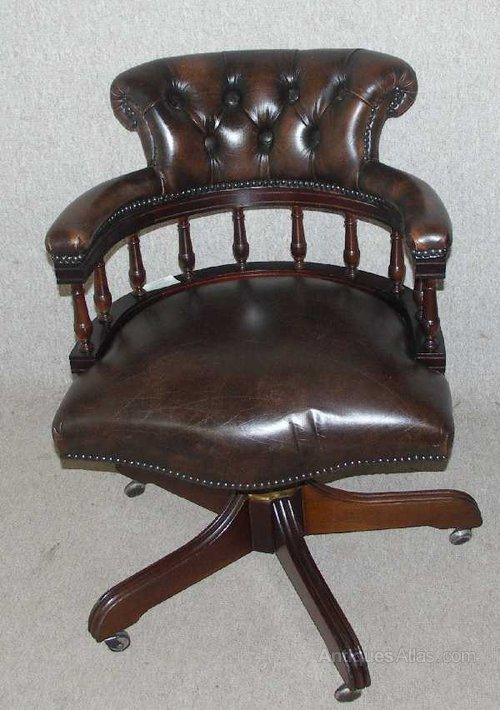 Antiques Atlas Brown Leather Captains Revolving Office Chair