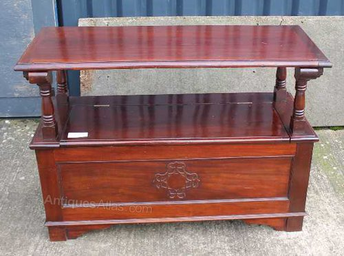 Carved mahogany monks bench with storage antiques atlas
