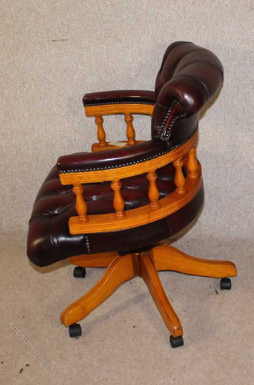 Deep Red Leather Captains Office Chair Antiques Atlas