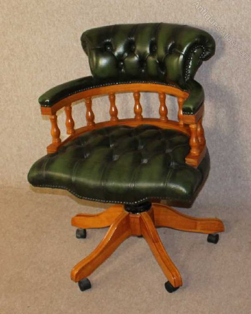 antiques atlas green leather captains revolving office chair