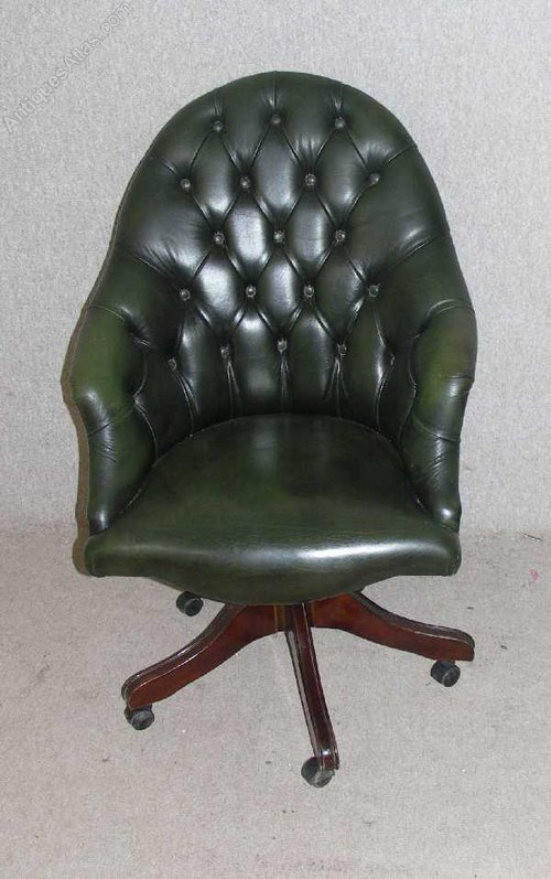 antiques atlas green leather chesterfield swivel chair