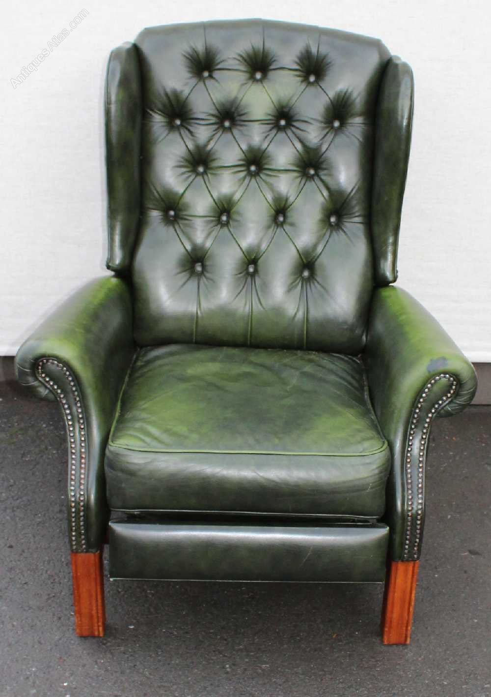 Antiques Atlas Green Leather Wing Back Recliner Armchair