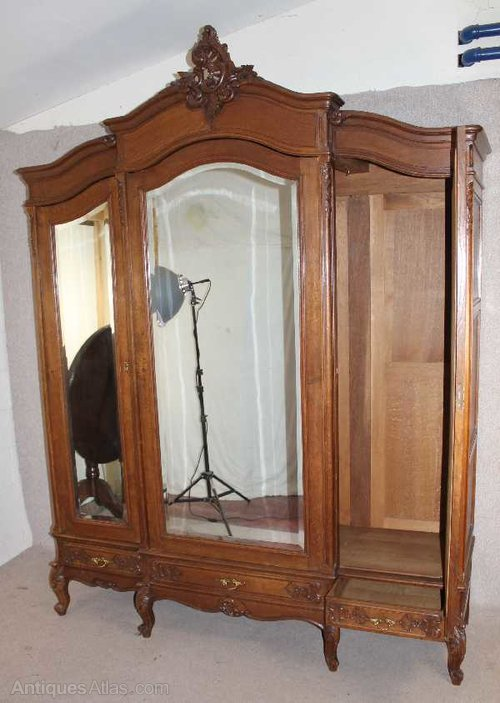 Antiques Atlas Oak 1940 S French 3 Door Mirrored Armoire