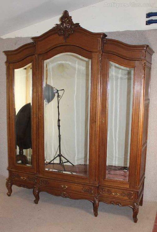 Antiques Atlas Oak 1940 S French 3 Door Mirrored Armoire