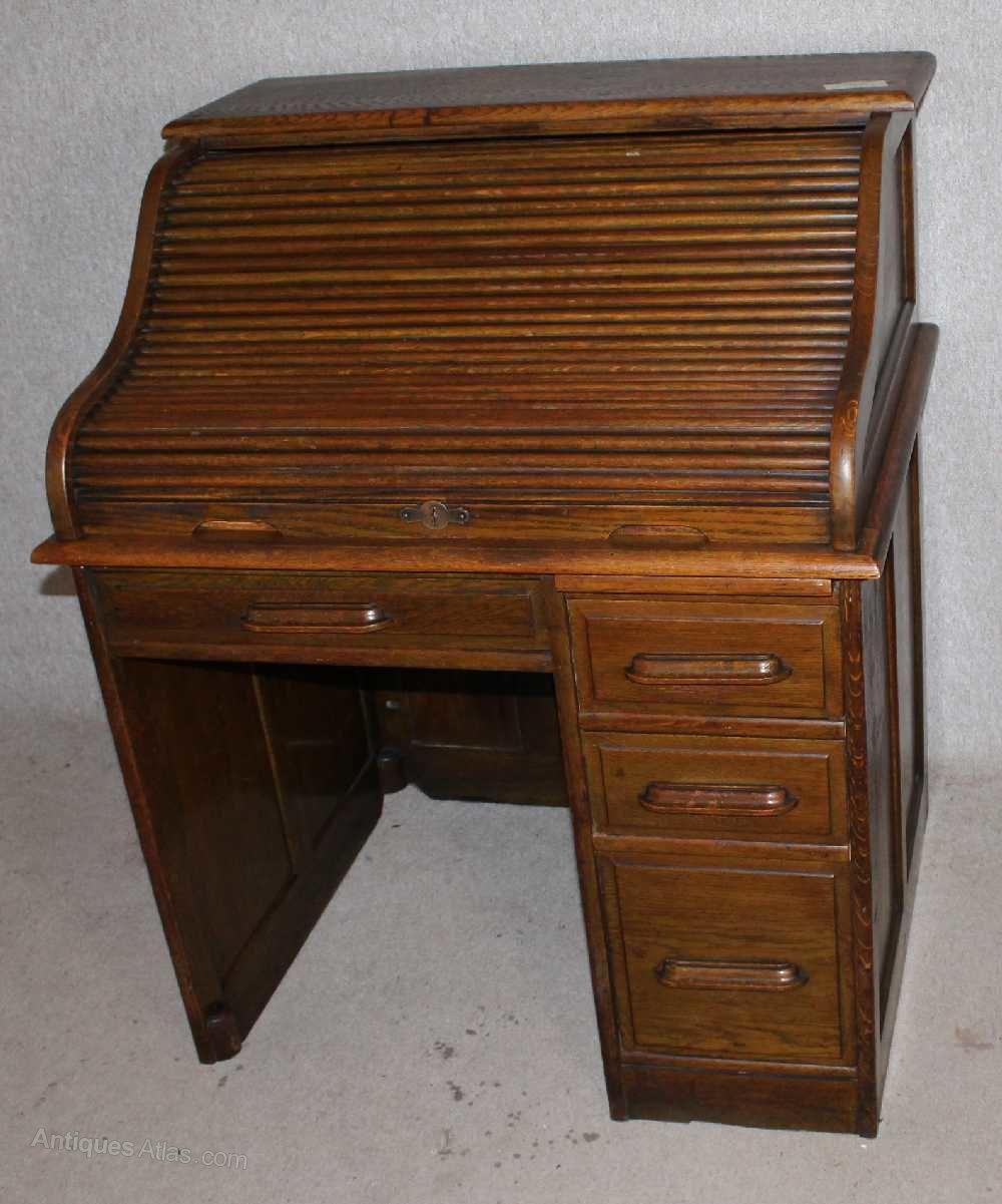 Oak Stype Single Pedestal Roll Top Desk Antiques Atlas