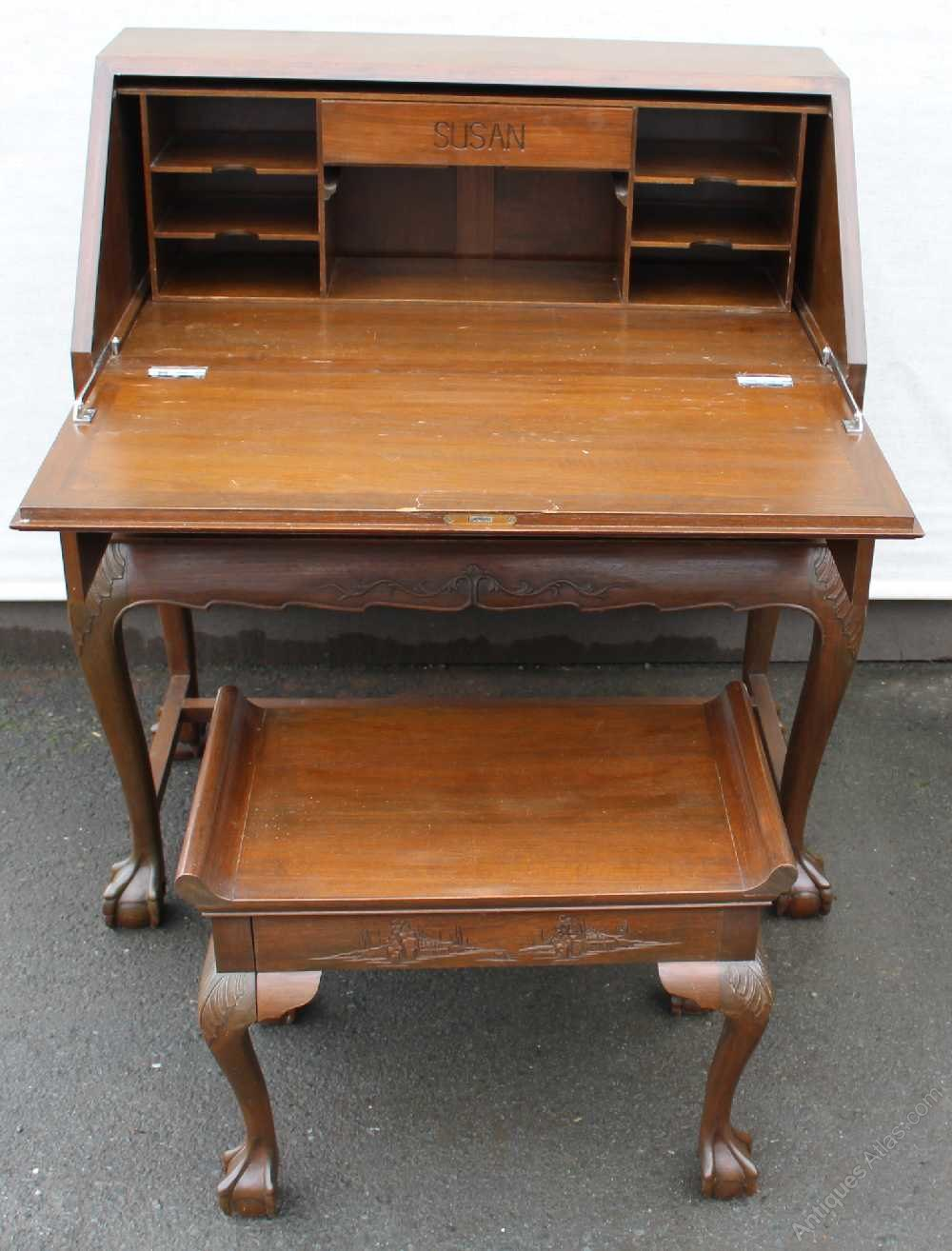 1920s padouk wood bureau highly carved plus stool antiques atlas. Black Bedroom Furniture Sets. Home Design Ideas