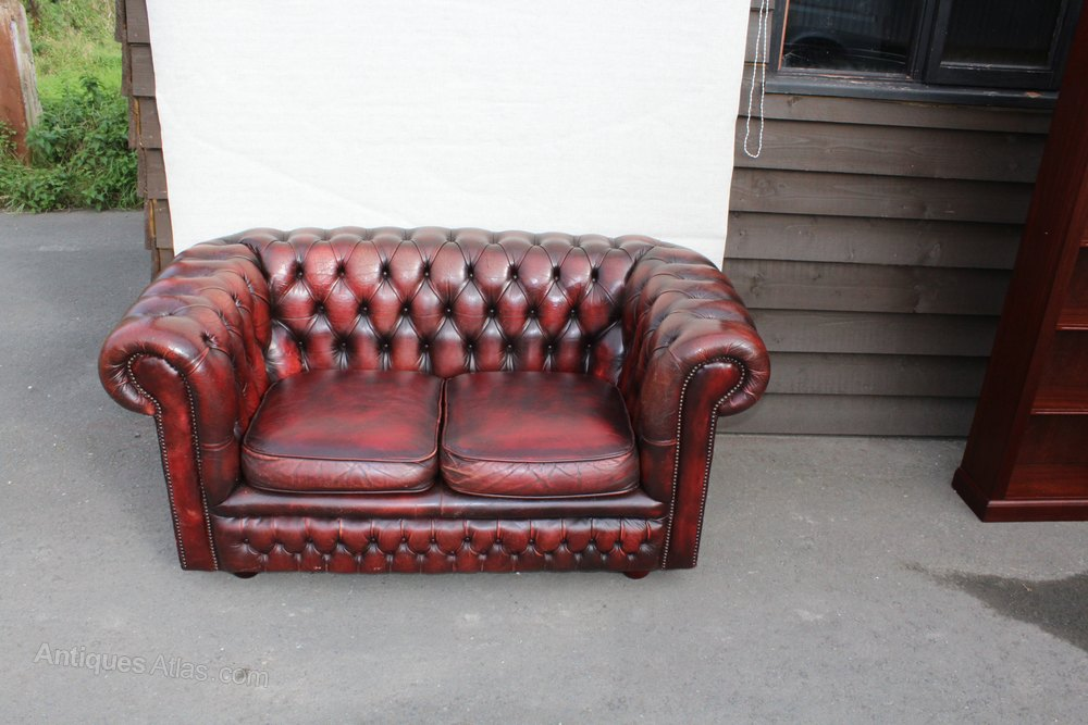 Antiques Atlas Red Leather 2 Seater Chesterfield Sofa