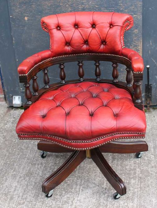 Red Leather Captains Chair ...