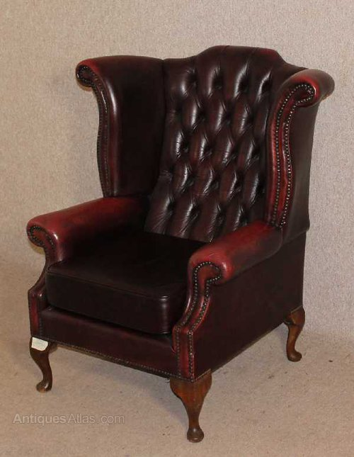 antiques atlas red leather chesterfield wing back armchair. Black Bedroom Furniture Sets. Home Design Ideas