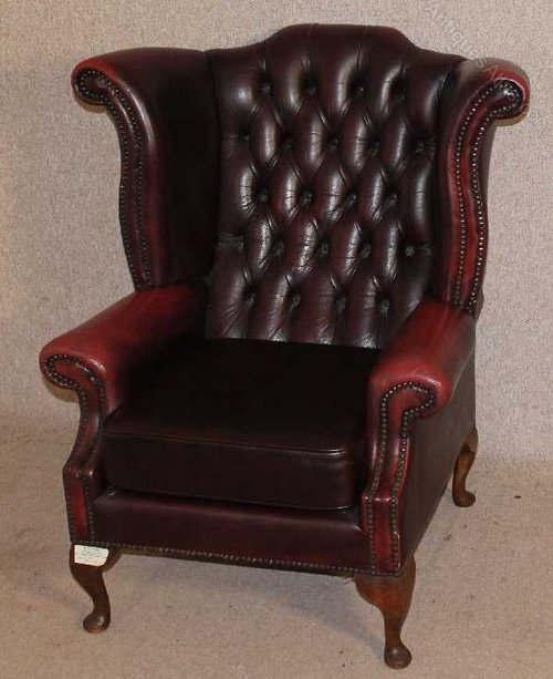 Red Leather Wingback Chair For Sale: Red Leather Chesterfield Wing Back Armchair