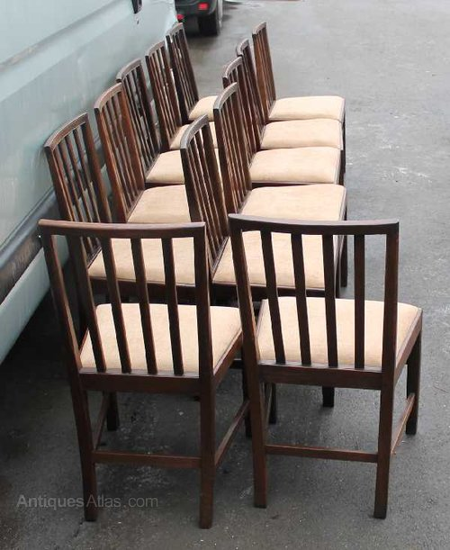 Set 12 Dark Oak Dining Chairs Antiques Atlas