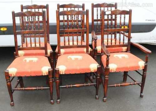 Oak Spindle Dining Chairs ~ Set oak spindle back dining chairs with upholste