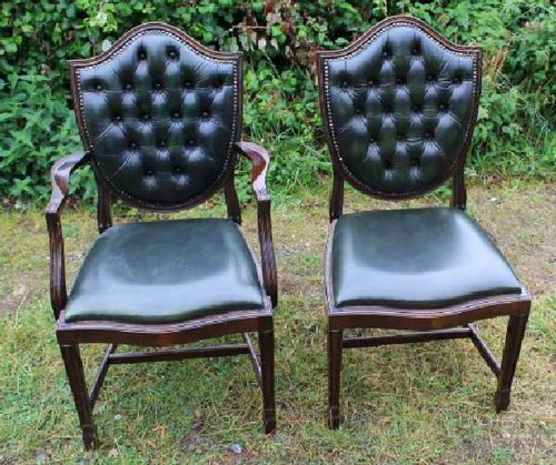 Set 8 Green Leather Buttoned Back Dining Chairs Antiques
