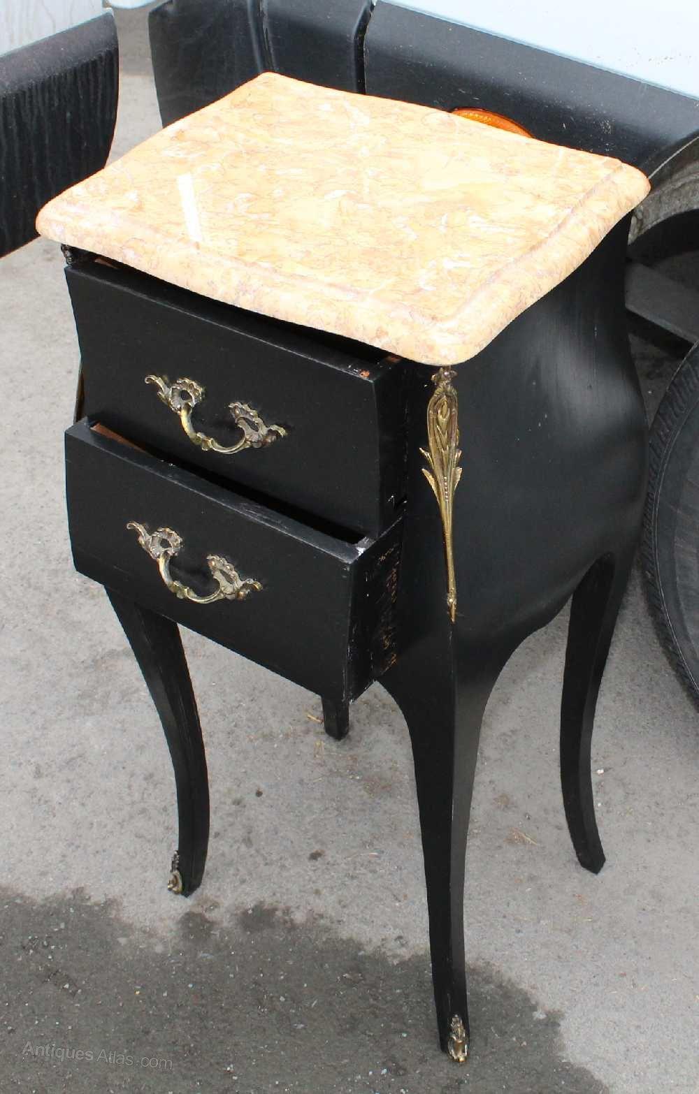 Vintage Slim Black Painted Bedside with Marble top Antique Bedside Cabinets