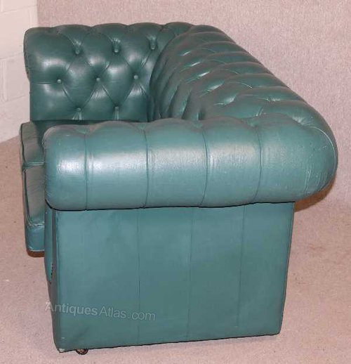 Antiques Atlas Turquoise Chesterfield 2 Seater Leather Sofa