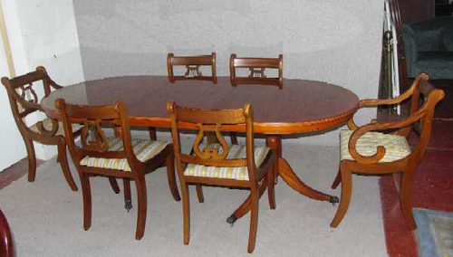 yew dining room furniture | Antiques Atlas - Yew Wood Dend Table And Set 6 Sabre Leg ...