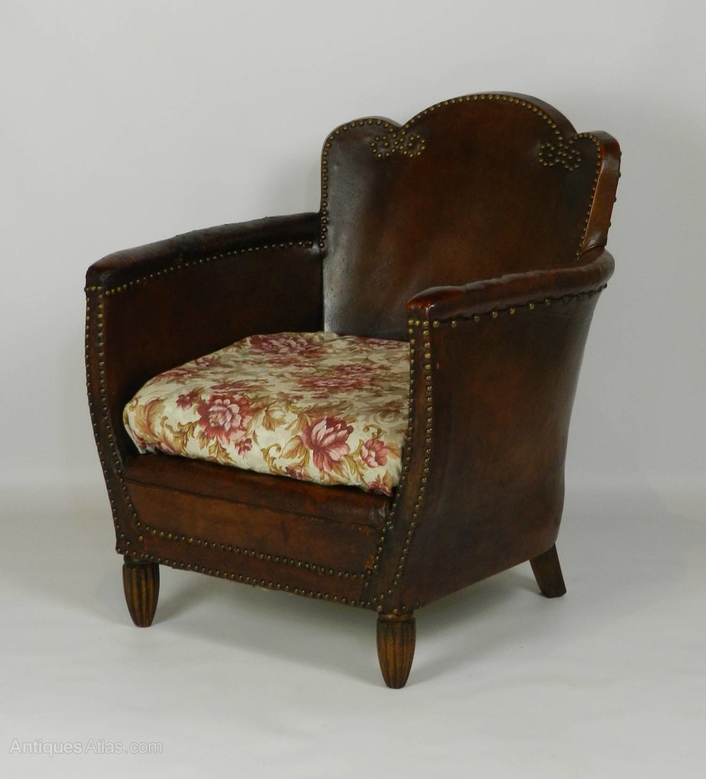 Art Deco French Leather Armchair - Antiques Atlas