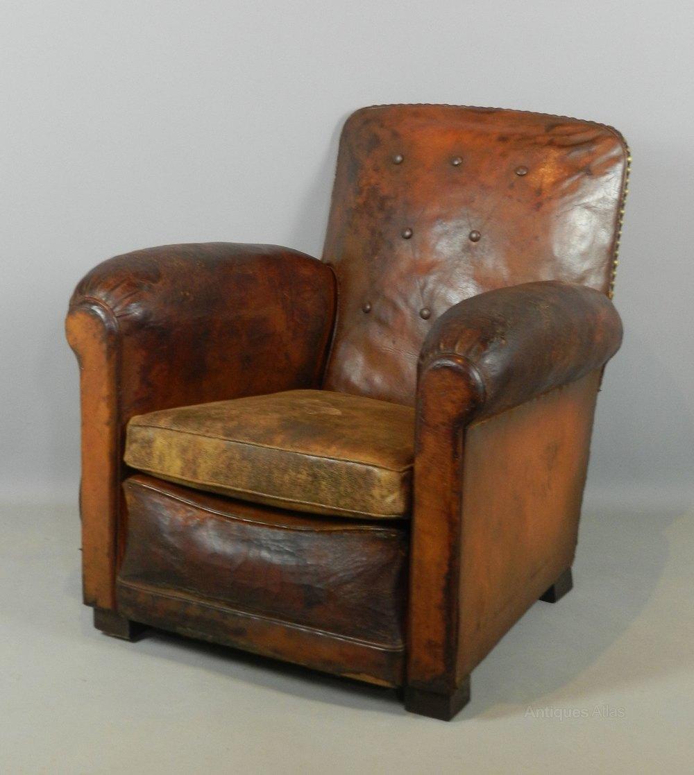 Art Deco Leather Club Chair - Antiques Atlas