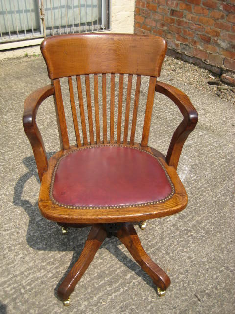 antique oak swivel desk chair | antique furniture