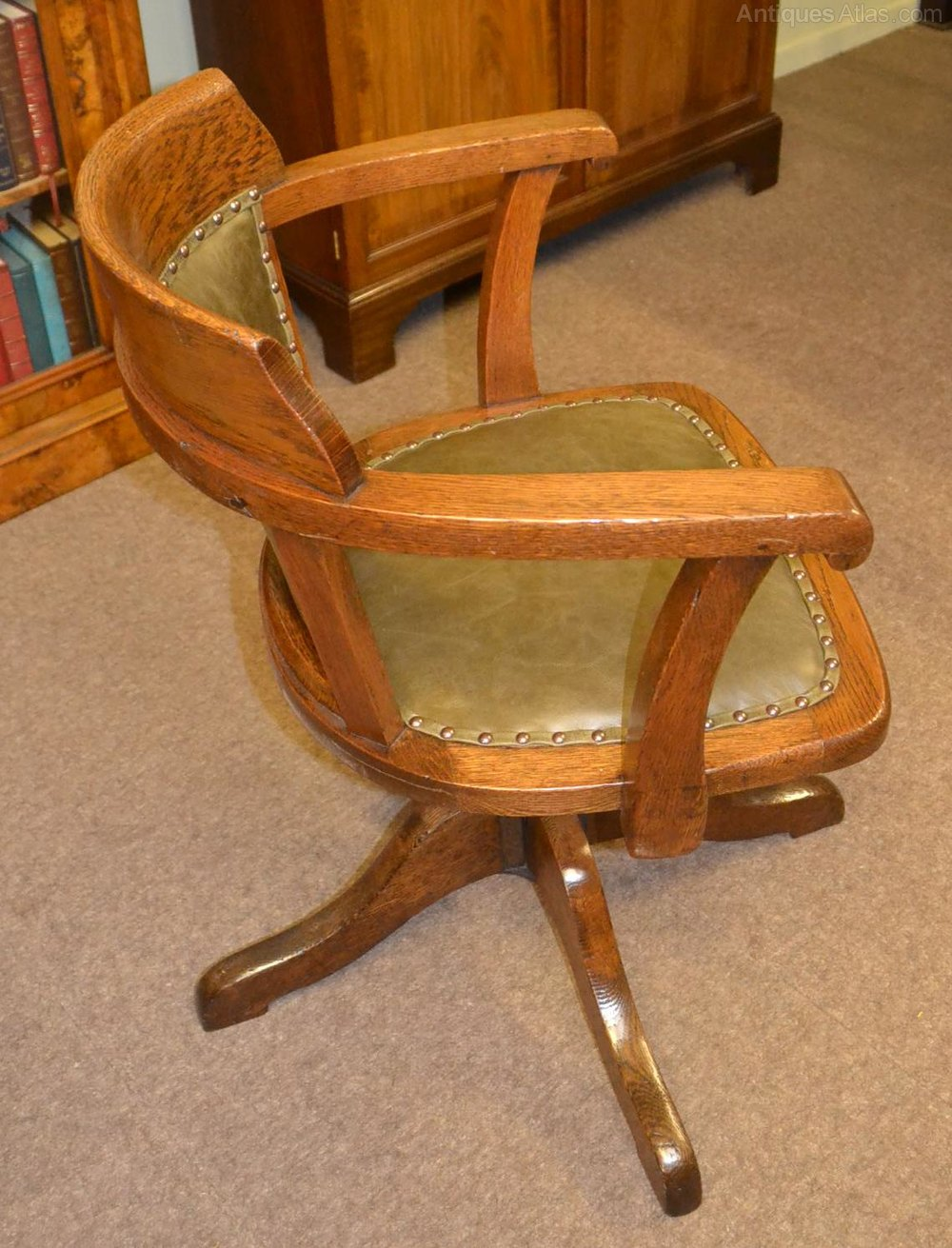 Oak Swivel And Tilt Desk Chair C1900 Antiques Atlas